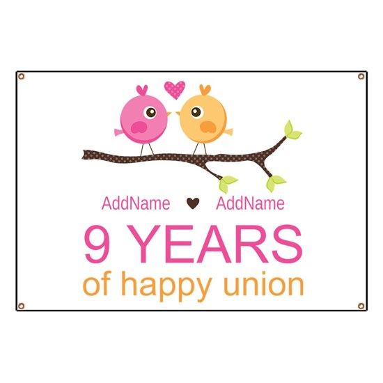 9th Wedding Anniversary Personalized Banner By Mycpstore Cafepress