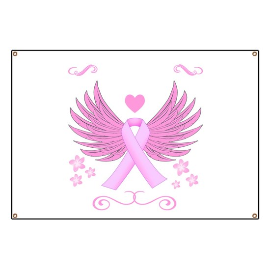 Breast Cancer Ribbon With Wings Banner By Flamincatdesigns Cafepress