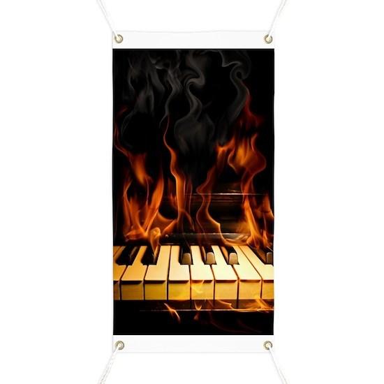 Burning Piano Banner By Fantasyartdesigns Cafepress