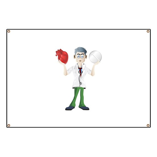 Doctor cartoon holding heart and tablet Banner