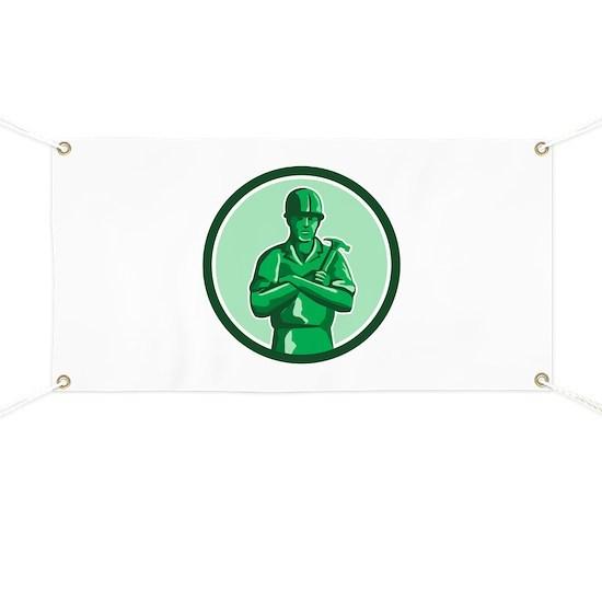 Green Builder Holding Hammer Circle Retro Banner