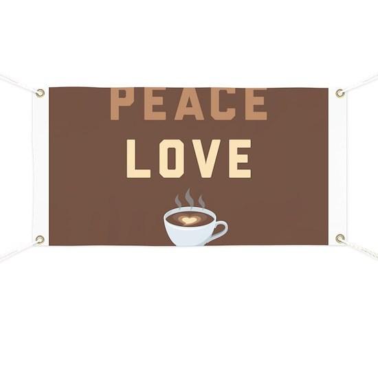 Peace Love Coffee Emoji Banner