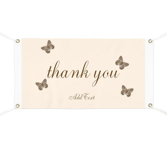 Pretty Thank You Cream Gold Butterflies