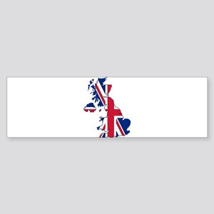 UK Outline and Flag Bumper Sticker