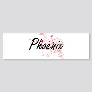 Phoenix Artistic Name Design with H Bumper Sticker