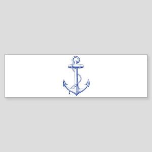 vintage navy blue anchor Bumper Sticker
