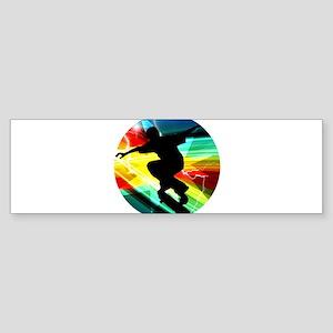 Skateboarder in Criss Cross Lightni Bumper Sticker