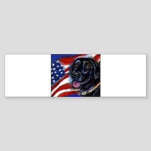 Black Labrador American Flag Sticker (Bumper 10 pk