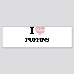 I love Puffins (Heart Made from Wor Bumper Sticker