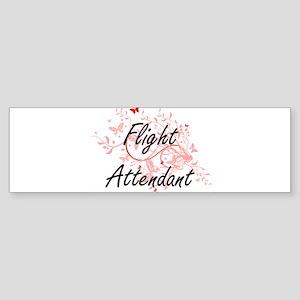 Flight Attendant Artistic Job Desig Bumper Sticker