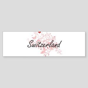 Switzerland Artistic Design with Bu Bumper Sticker