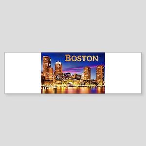 Boston Harbor at Night text BOSTON Bumper Sticker