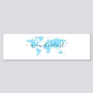 Wanderlust, blue world map Bumper Sticker