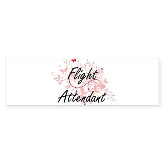 Flight Attendant Artistic Job Design with Butterfl