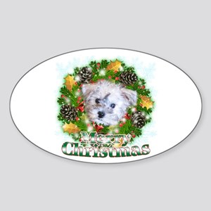 Merry Christmas Schnoodle Sticker (Oval 10 pk)