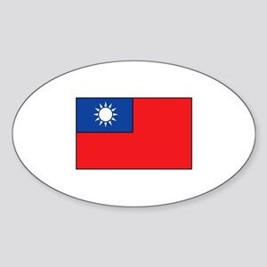 Taiwanese Flag Oval Sticker (10 pk)