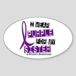 I Wear Purple 37 Epilepsy Sticker (Oval 10 pk)
