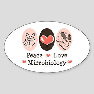 Peace Love Microbiology Oval Sticker (10 pk)