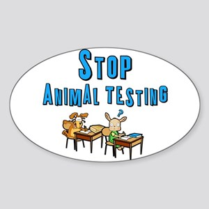 Stop Animal Testing Sticker (Oval 10 pk)