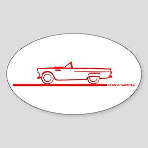 55 T Bird Top Down Red Oval Sticker (10 pk)
