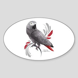 African Grey Parrot Sticker (Oval 50 pk)