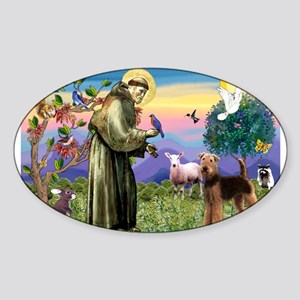St Francis / Airedale Sticker (Oval 50 pk)