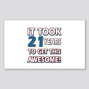 21 Year Old birthday gift ideas Sticker (Rectangle