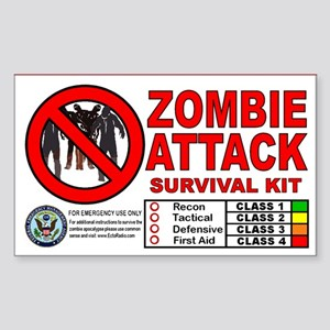 Zombie Attack Survival Stickers (Rectangle 50 pk)