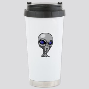 Grey Alien Head Stainless Steel Travel Mug