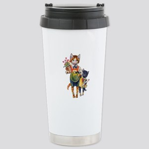 Cute Cats Bearing Gifts Stainless Steel Travel Mug