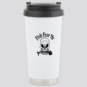 Fish Fear Me Skull Stainless Steel Travel Mug