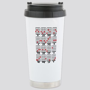 Uke Chord Cheat White Stainless Steel Travel Mug