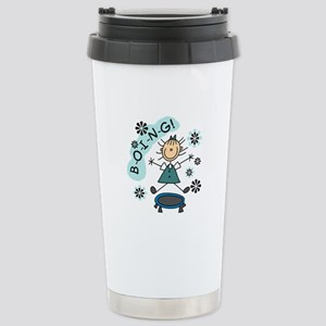 Girl on Trampoline Stainless Steel Travel Mug