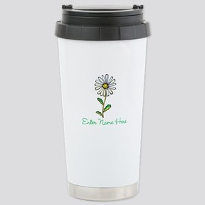 Personalized Daisy Stainless Steel Travel Mug