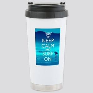 Keep Calm And Surf On Stainless Steel Travel Mug