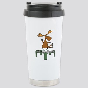 Funny Moose on Trampoline Mugs