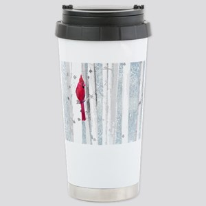 Red Cardinal Bird Snow Birch Trees Mugs