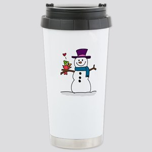 Snowman bird love chris Stainless Steel Travel Mug