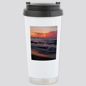 Sunset with waves Travel Mug