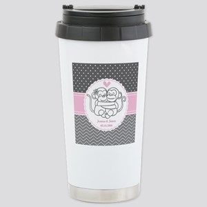 Gray Pink Chevron Dots Stainless Steel Travel Mug