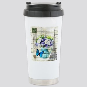 blue floral paris eiffe Stainless Steel Travel Mug
