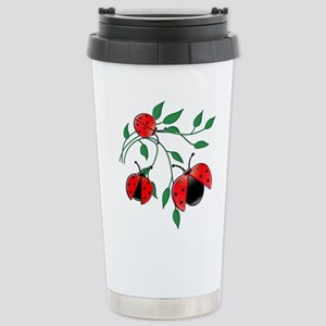 Delicate Ladybugs on Gr Stainless Steel Travel Mug