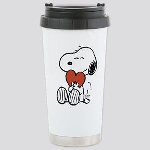 Snoopy on Heart Travel Mug