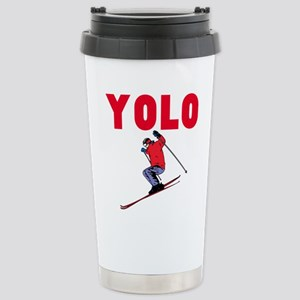 Yolo Skiing 16 oz Stainless Steel Travel Mug