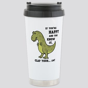T-Rex Clap II 16 oz Stainless Steel Travel Mug