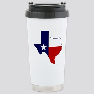Texas Flag on Texas Outline Stainless Steel Travel