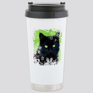 BLACK CAT & SNOWF 16 oz Stainless Steel Travel Mug