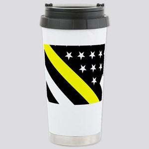 U.S. Flag: Thin Yellow Stainless Steel Travel Mug