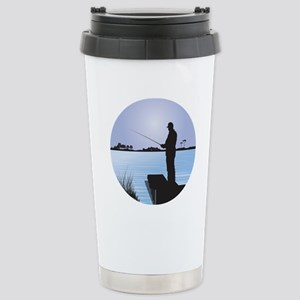 Silhouette of Fisherman Stainless Steel Travel Mug