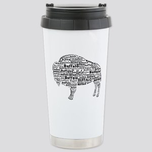 Buffalo Text Stainless Steel Travel Mug